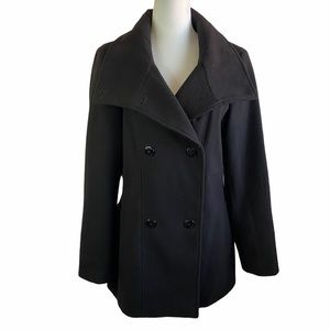 Calvin Klein Pea Coat Jacket Black Size Medium